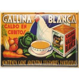 Postal Metálica Gallina Blanca