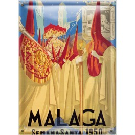 Postal Metálica Malaga Semana Santa 1950