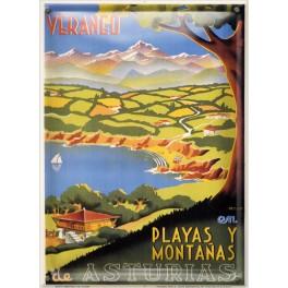 Postal Metálica Playas y montañas de Asturias