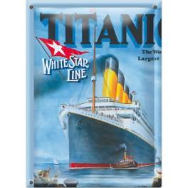 Postal Metálica Titanic White Star Line