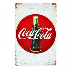 Cartel Metálico de Coca Cola circulo rojo