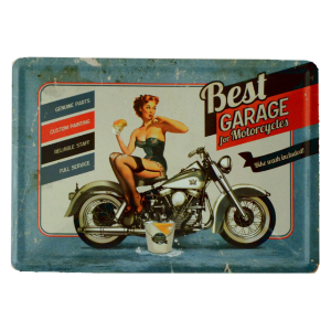 Postal Metalica Best Garage Azul