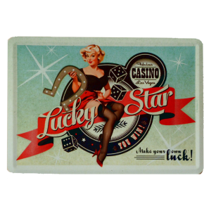 Postal Metalica Pin Up Lucky Star