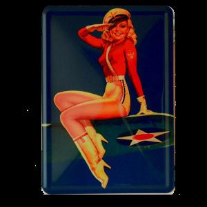 Postal Metalica Pinup Avion