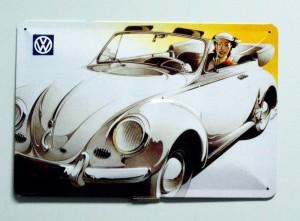 Cartel  Metálico Volkswagen Escarabajo descapotable