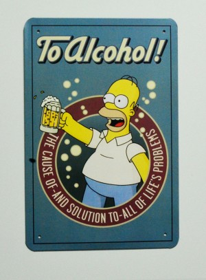 Cartel  Metálico Homer to Alcohol