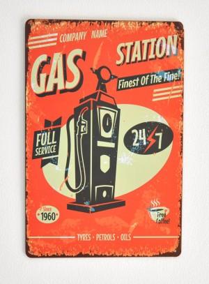 Cartel Metálico Gas Station