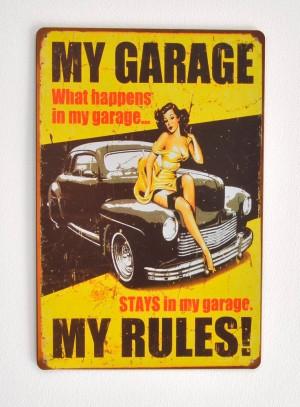 Cartel Metálico My Garage, My Rules Pinup