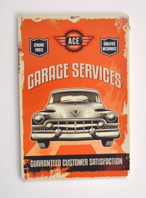 Cartel Metálico Garage Services