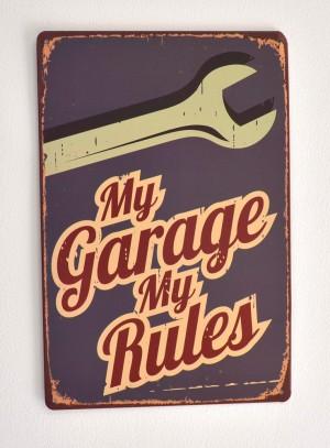 Cartel Metálico My Garage My Rules