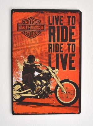 Cartel Metálico Harley Davidson, Live to Ride