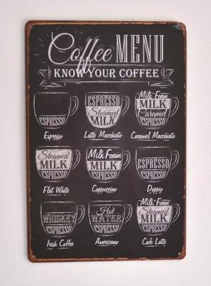 Cartel Metálico Coffee Menu