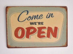 Cartel Metálico We are Open