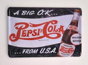 Cartel Metálico Pepsi Cola, a big ok