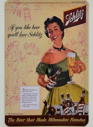 Cartel Publicitario Cerveza Schlitz