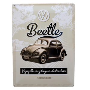 Chapa Metálica Volkswagen Beetle, Think Small