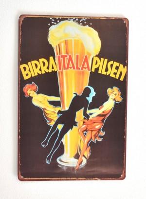Cartel de Cerveza Birra Italia Pilsen