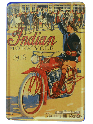 Cartel Publicitario Indian Motorbike 1916