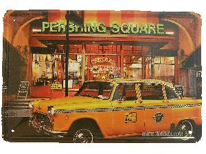 Cartel Metálico Taxi Amarillo