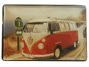Cartel Metálico Vw Bus Roja