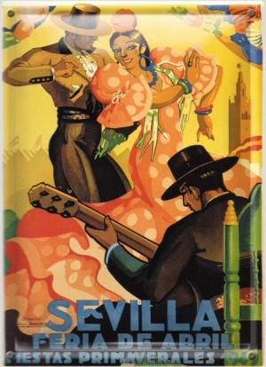 Postal Metálica Feria Sevilla 1949