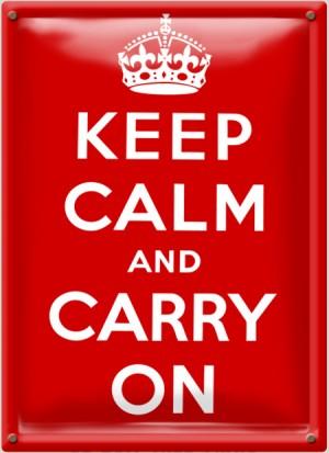 Postal Metálica Keep Calm And Carry On
