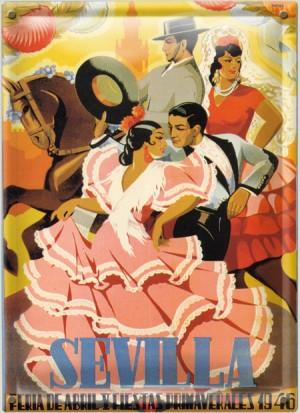 Postal Metálica Sevilla Feria De Abril 1945