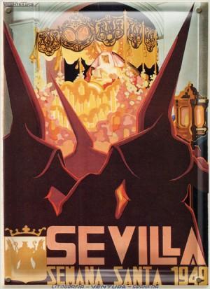 Postal Metálica Sevilla Semana Santa 1949