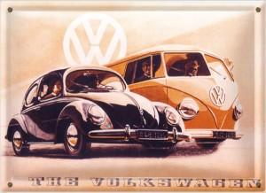 Postal Metálica Volkswagen Bulli y Beetle