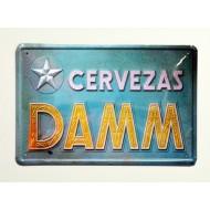 Cartel  Metálico Cervezas Damm , azul
