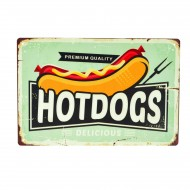 Cartel Metálico de Hotdogs Delicious