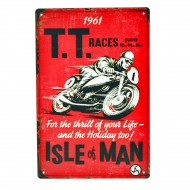Cartel Metálico de T.T. Races Isle of Man
