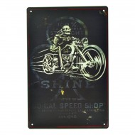 Cartel Metálico de Shine, moto skeleton