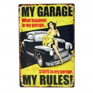 Cartel Metálico de My Garage My Rules