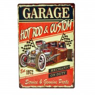 Cartel Metálico de Garage Hot Rod Custom