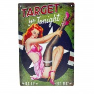 Cartel Metálico de Pin Up target for tonight