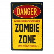 Cartel Metálico de Zombie Zone