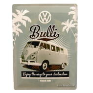 Cartel Furgoneta VW Bulli palmeras