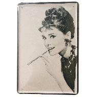 Cartel Metálico Audrey Hepburn fumando