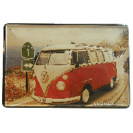 Cartel Metálico Vw Bus Roja