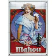Postal Metálica Cervezas Mahou