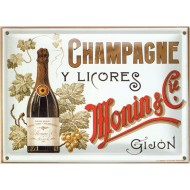 Postal Metálica Champagne Y Licores Monin