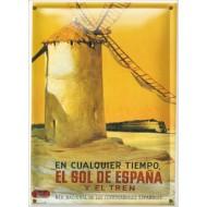 Postal Metálica El Sol De Espana Y El Tren