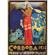 Postal Metálica Feria Cordoba 1934