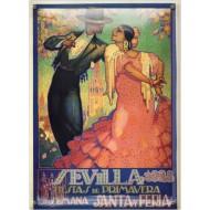 Postal Metálica Feria Sevilla 1928