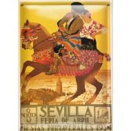 Postal Metálica Feria Sevilla 1934