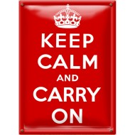 Postal Metálica Keep Calm And Carry On