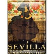 Postal Metálica Feria Sevilla 1922