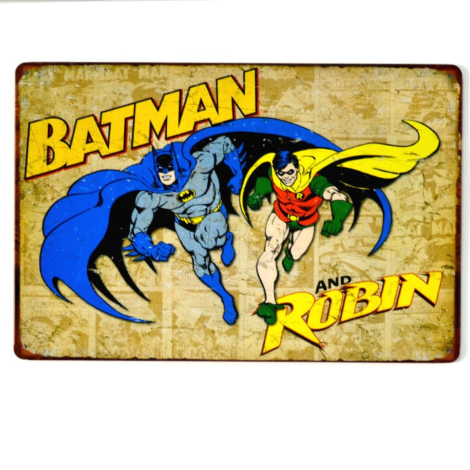 Chapa Metálica Batman y Robin