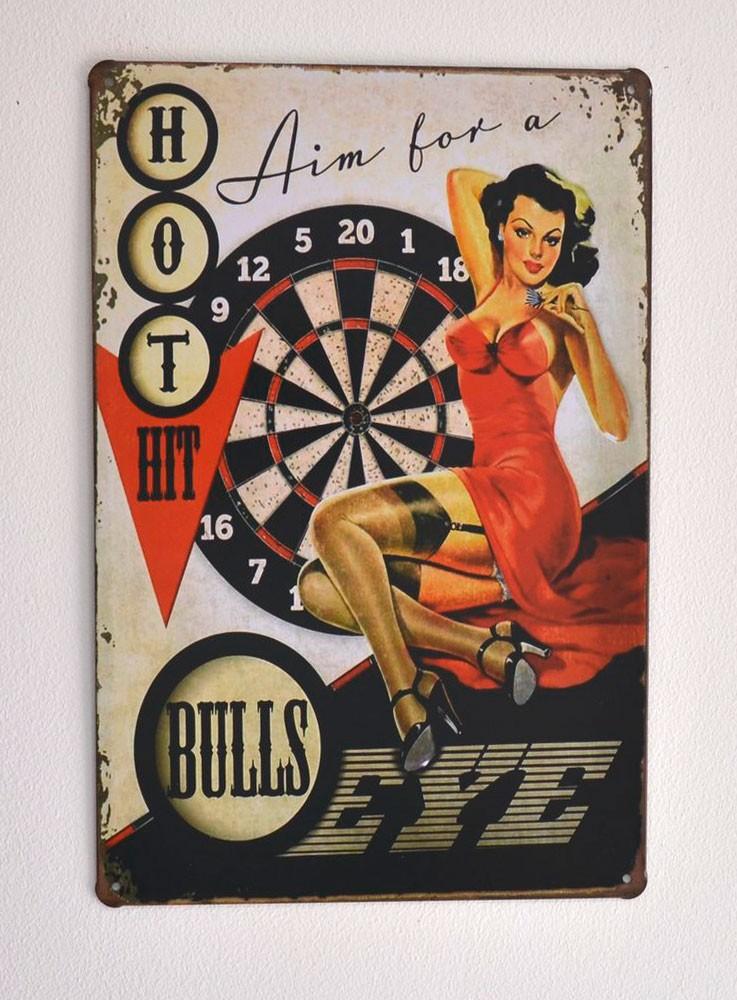 Cartel  Metálico Bulls Eye Pin up